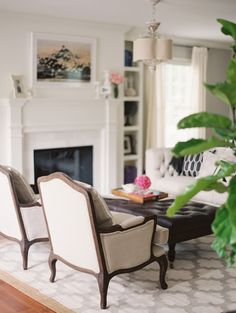 Style Me Pretty | Gray living room, fireplace