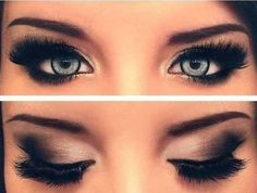 Black smokey eye with a full set of false lashes
