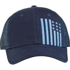 cb398e50 Academy Sports + Outdoors Men's Flag Trucker Hat (Navy/Light Blue, Size One