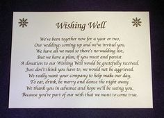 wishing well poem for wedding | Home & Garden > Wedding Supplies > Invitations, Placecards