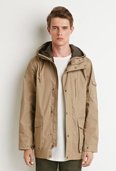 21 MEN Hooded Utility Jacket