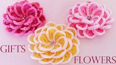 Como tejer  fácil y rápido flores en una sola tira- Make creates  beauti...