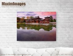 This Wall Art of Peaceful autumn scenery of the Phoenix Hall of Byodoin temple on Kojima island. is available at MaximImages where you can buy it as an art print, a canvas print, a wall tapestry, or license this image Wall Art Prints, Fine Art Prints, Canvas Prints, Zen Home Decor, Quality Photo Prints, Autumn Scenery, Going On Holiday, Japan Travel, Fine Art Paper