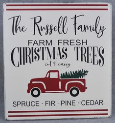 Rustic Farmhouse Style Personalized Last Name Farm Fresh Christmas Trees Wood Sign, Red Truck Holiday Decor