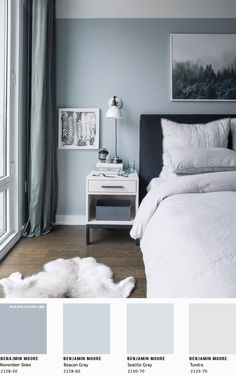 Inspiring Beautiful Bedroom Designs in light blue grey { Benjamin Moore Painting Colors } A pretty color palette of grey hues. Use the power of color to bring. Bedroom Colour Schemes Blue, Blue Bedroom Walls, Blue Master Bedroom, Relaxing Bedroom Colors, Small Bedroom Paint Colors, Bedroom Wallpaper And Curtains, White Bedroom, Master Bedrooms, Colour Schemes Grey