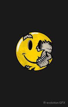 'Smiley face skull' iPhone Case by R-evolution GFX Arte Pop, Funny Smiley, Acid Art, Hypebeast Wallpaper, Mood Wallpaper, Skull Print, Graffiti Art, Graphic Design Art, Cute Wallpapers