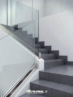 Glass railing / aluminium / indoor - NINFA LED by Nino Faraone - FARAONE Srl