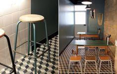 tabourets d'atelier - tables d'écoliers - carreau de ciment 3D - Ama Dao - Agence Favorite