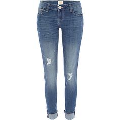 Make sure you've got the staple pieces covered with these seasonless mid wash Daisy ripped slim jeans. Slim Jeans, Skinny Jeans, Work Wardrobe, Style Inspiration, Stylish, Ladies Jeans, Pants, River Island, Daisy