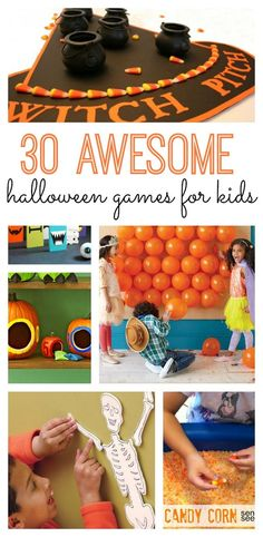 Check out these 30 awesome Halloween games for kids of all ages! There are so many great DIY Halloween activity ideas! Check out these 30 awesome Halloween games for kids of all ages! There are so many great DIY ideas! Premier Halloween, Soirée Halloween, Halloween Class Party, Halloween Karneval, Halloween Birthday, Holidays Halloween, Halloween Treats, Preschool Halloween Party, Childrens Halloween Party