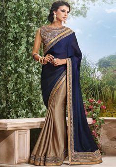 Blue-Embroidered-Saree