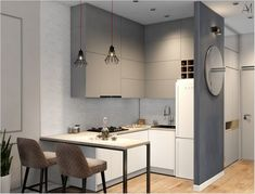 50 simple and modern style kitchen design for small kitchen decorating ideas or kitchen remodel « Dreamsscape Small Apartment Interior, Small Apartment Kitchen, Small Apartment Design, Home Decor Kitchen, Small Apartments, Interior Design Kitchen, Home Kitchens, Small Spaces, Micro Apartment