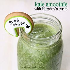 kale smoothie with Hershey's Syrup