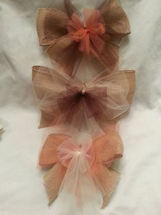 4 Burlap and Tulle Bows/Wedding Decor/Fall Wedding/Rustic Wedding/Rustic Decor