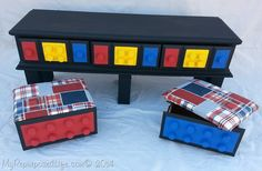 Is this not the coolest thing?! Gail's DIY Lego Table with Storage, and little storage seats made out of drawers.