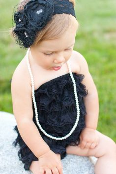 Black lace petti romper with headband by PrettyPetalsHair on Etsy, $25.95