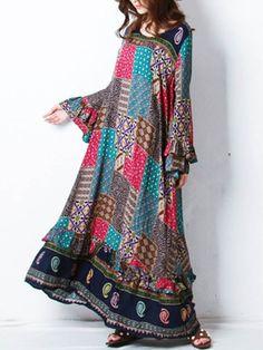 Gracila Bohemian Printed Maxi Dresses