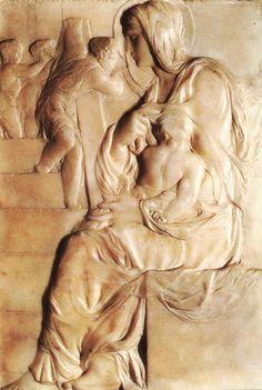 Michelangelo Buonarroti | Madonna of the Stairs, 1490-1492, marble relief, Casa Buonarroti, Firenze