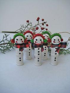 Christmas Snowmen Ornaments Made of Wooden Thread Spools Set of 5. $15.00, via Etsy.
