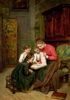 The Family Album Art Print by Charles Edouard Frere. All prints are professionally printed, packaged, and shipped within 3 - 4 business days. Reading Art, Woman Reading, Children Reading, Monet, Chica Anime Manga, Family Album, Beautiful Paintings, Illustrations, Giclee Print