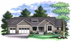 Color Rendering of Ranch House Plans CLS-1914.