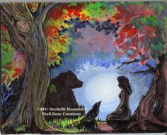 Totem animals Bear and Raven Painting Reproduction Print  8 x 10 in.  -  CAAT. $30.00, via Etsy.