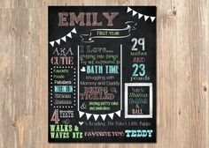 """1st Birthday Stats Baby's First Year - First Birthday Chalk Sign - Printable - 11""""x14"""" Chalkboard Style - Pink - Green - Teal - Milestones"""