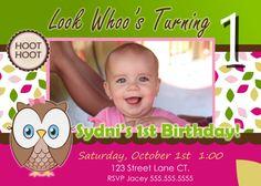 Owl Invite Look Whoo's Turning one 1 invititation Owl Birthday Party Girl 1st Birthday theme
