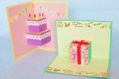 グリーティングカード作りのアイデアを全4回でご紹介する連載の2回目は、飛び出すカードです。今回は基本の「ギフトBOX」と、それを応用した「ケーキ」の作り方をご紹介します。基本となる、横開きと縦開きカードの作り方をマスターすれば、応用したアレンジもできるようになるので、作れるカードのバリエーションが一気に広がりますよ。  Beautiful Birthday Cards, Cute Birthday Cards, Pop Up Greeting Cards, Diy Christmas Cards, Love Craft, Mail Art, Diy Cards, Paper Flowers, Diy And Crafts
