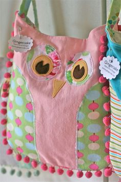 Gingercake Pink Pom Pom Owl Bag - these are so darn cute! i'd love to make one for myself!