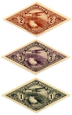 Costa Rica; Airmail Postage, 1c, 2c and 3c (c = centimos) : : issued on 10 February, 1937