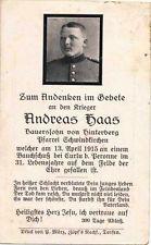 WW1 GERMAN DEATH CARD STERBEBILD - SHOT STOMACH CURLU by PERONNE 1915