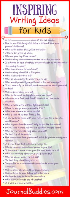 These 58 new writing ideas for kids ages 7-14 will enthuse students and get them excited about writing. There's something for everyone here, with questions ranging from silly daydreams about being a super-secret spy to deeper thoughts about sources of inspiration. Students can write letters to their future selves, or they can imagine what life might be like on another planet.
