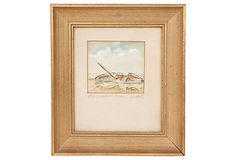 Nautical Watercolor, Gold Frame on OneKingsLane.com