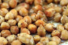 Roasted chickpeas: 1can chickpeas rinsed; 1tbsp olive oil; 2 cloves garlic roughly chopped; 3/4tsp sweet hungarian paprika and ground cumin; coarse sea salt and black pepper. 400 w/oil and garlic for 20min. Drain on paper towel and then toss with seasonings =o)