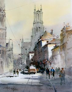 by Corneliu Drăgan-Târgovişte Watercolor City, Watercolor Sketch, Watercolor Artwork, Watercolor Artists, Gouache Painting, Watercolor Landscape, Urban Landscape, Landscape Art, Landscape Paintings