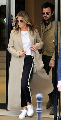 Jennifer Aniston and Justin Theroux seen leaving a Chanel store in Paris, France, on April 12, 2017.