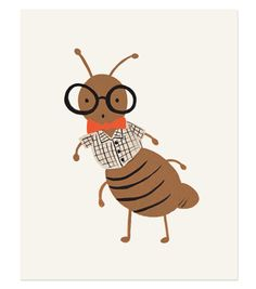 illustrated art print created from an original illustration by Anna Bond. This print features Arthur the Ant who is adorably nerdy in his bowtie and glasses. Each print is archival printed on natural white cover paper Kids Prints, Art Prints, Ant Art, Rifle Paper Company, Art Graphique, Papers Co, Cute Illustration, A Boutique, Wallpaper