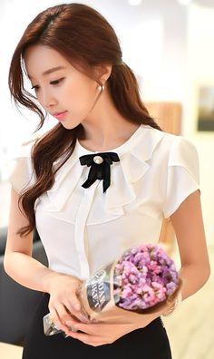 StyleOnme_Pearl Ribbon Brooch Frill Neckline Blouse #white #feminine #blouse #summerlook #koreanfashion #kstyle #kfashion #blouse #seoulbl