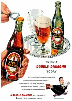 Double diamond beer 1950 s Alcohol Advertising poster reproduction. Retro Advertising, Vintage Advertisements, Vintage Ads, Beer Advertisement, Vintage Food, Retro Ads, Vintage Posters, Sol Beer, British Beer