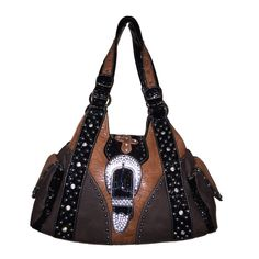 """Western Rhinestone Cross Buclke Style Handbag Purse with Magnetic Closure and Optional Matching Wallet 5238 in Brown. Western Style Chic! An oversize rhinestone encrusted buckle and rhinestones cross on buckle design give this bag beautiful BLING! Measures approximately 12""""W x 8""""H x 4.5""""D- not too big, not too small. zippers access- safe way to carry and convenient to use. Side pockets are ideal for carrying things you use most. Lined interior has 2 roomy compartments separated by a…"""