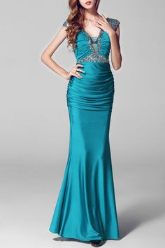 Rhinestone Beaded Double V-Look Ruched Evening Gown with Cap Sleeves & Wedding > Occasion Dresses > Ready to Wear Dresses Pretty Prom Dresses, Blue Evening Dresses, Best Prom Dresses, Backless Prom Dresses, Mermaid Evening Dresses, Prom Dresses Online, Homecoming Dresses, Evening Gowns, Maxi Dresses