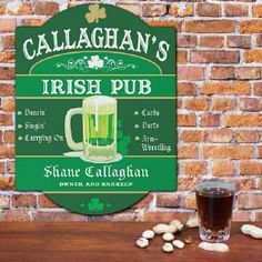 Terrific way to warm up your Irish home bar with this personalized Irish pub sign Pub Signs, Wall Signs, Personalized Wedding Gifts, Personalized Signs, Irish Pub Decor, Irish Bar, Irish Eyes Are Smiling, Sign Writing, Man Cave
