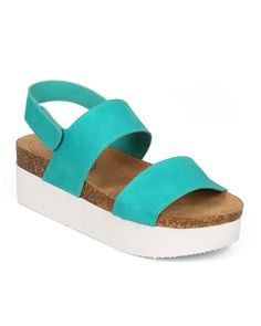 Breckelles CF14 Women Leatherette Two Tone Open Toe Double Band Flatform Creeper Slingback Sandal - Aqua *** You can find more details by visiting the image link.