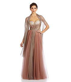 Mignon Beaded Brocade Sweetheart Gown #Dillards