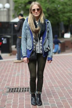 rocker chic...I can never get enough of layering plus skinnies with Chelsea boots like this girl has done so well.