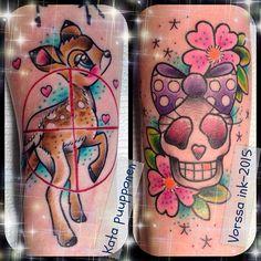 https://www.facebook.com/VorssaInk/, http://tattoosbykata.blogspot.com, #tattoo #tatuointi #katapuupponen#vorssaink #forssa #finland #traditionaltattoo #suomi #oldschool #pinup #deer #bambi #skull