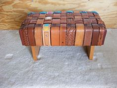 recover stool with old belts