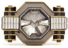 LANVIN Silver Crystal Enamel Cuff - Lyst