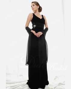 Black Ruched Column V-neck Brush Train Chiffon Mother of the Bride Dress